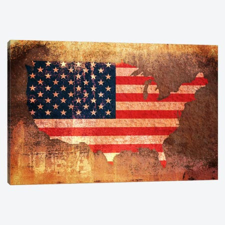 USA Flag Map Canvas Print #8864} by Michael Tompsett Canvas Art Print