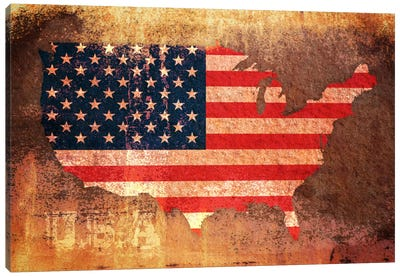 USA Flag Map Canvas Art Print