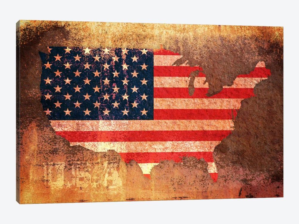 USA Flag Map by Michael Tompsett 1-piece Canvas Art