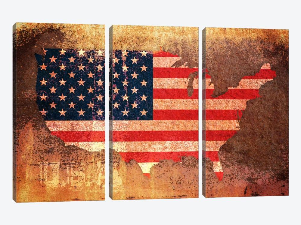 USA Flag Map by Michael Tompsett 3-piece Canvas Artwork