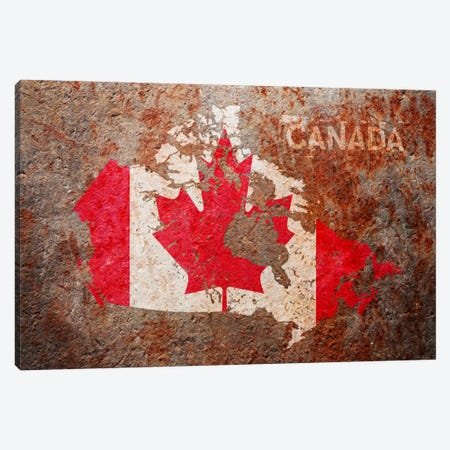 Canada Flag Map Canvas Print #8865} by Michael Tompsett Canvas Print
