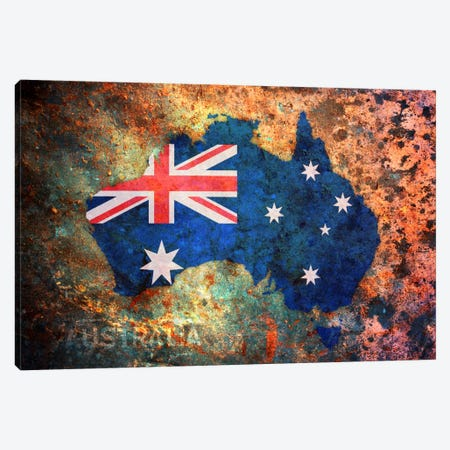 Australia Flag Map Canvas Print #8866} by Michael Tompsett Art Print