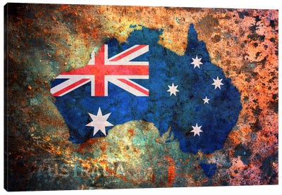 Australia Flag Map Canvas Art Print