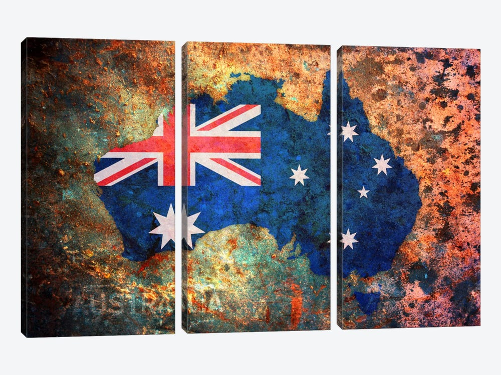 Australia Flag Map by Michael Tompsett 3-piece Canvas Wall Art