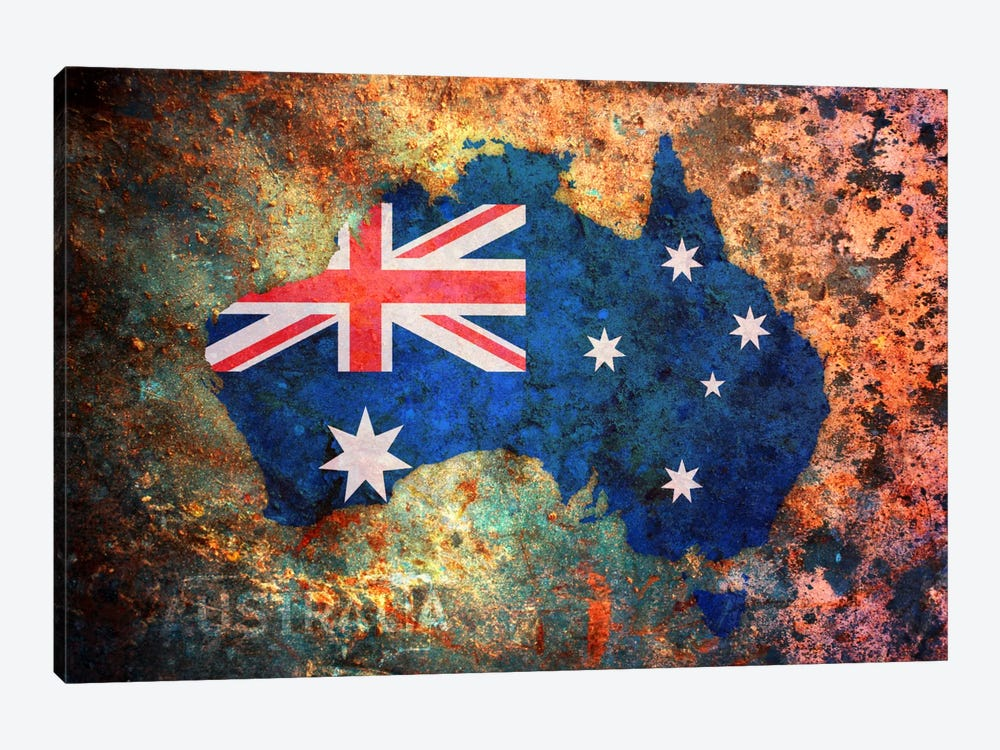 Australia Flag Map by Michael Tompsett 1-piece Canvas Art