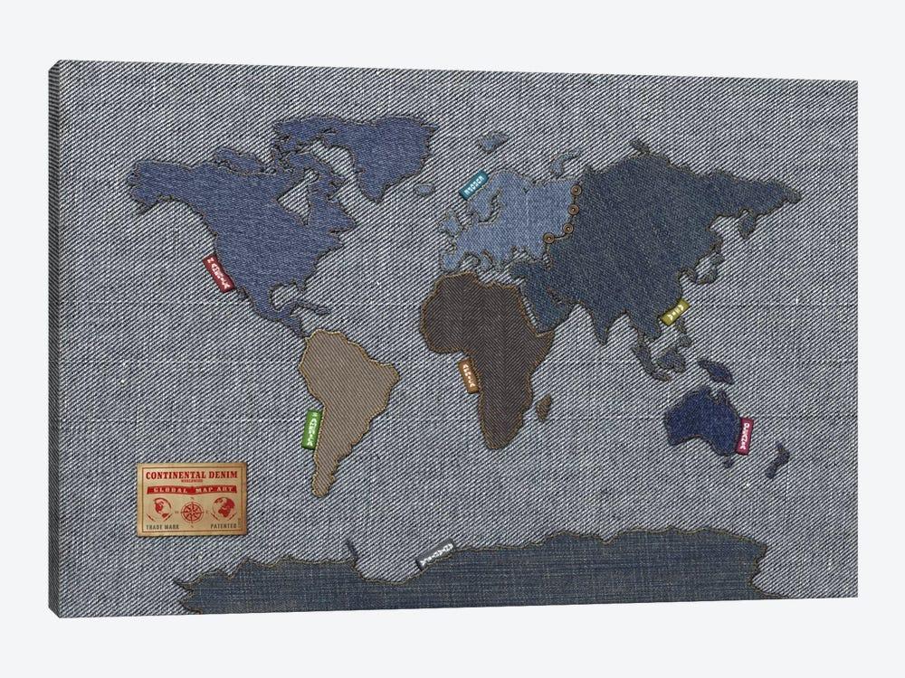 denim map of the world by michael tompsett 1 piece canvas art print