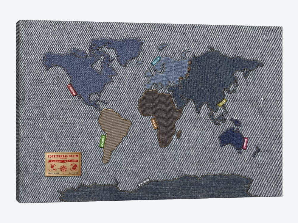 Denim Map of The World 1-piece Canvas Art Print