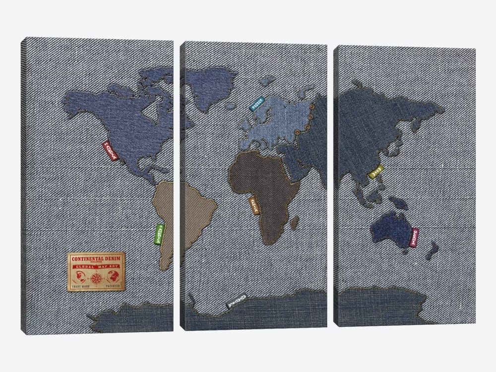 Denim Map of The World 3-piece Art Print