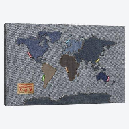 Denim Map of The World Canvas Print #8867} by Michael Tompsett Art Print