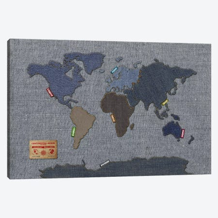 Denim Map of The World Canvas Print #8867} by Michael Tompsett Art Print