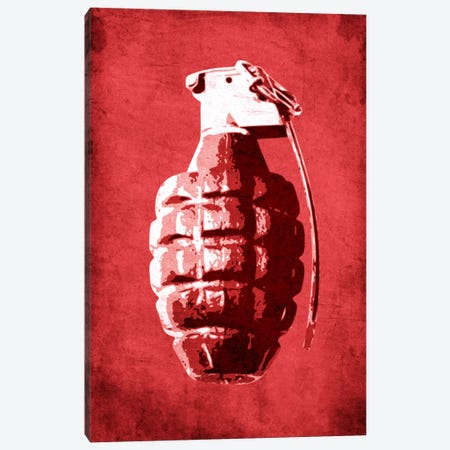 Hand Grenade (Red) Canvas Print #8868} by Michael Tompsett Canvas Wall Art