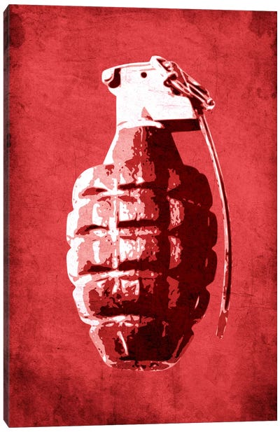 Hand Grenade (Red) Canvas Art Print