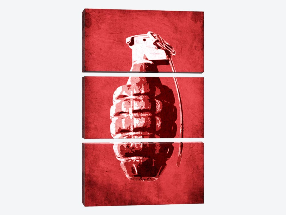 Hand Grenade (Red) 3-piece Canvas Wall Art