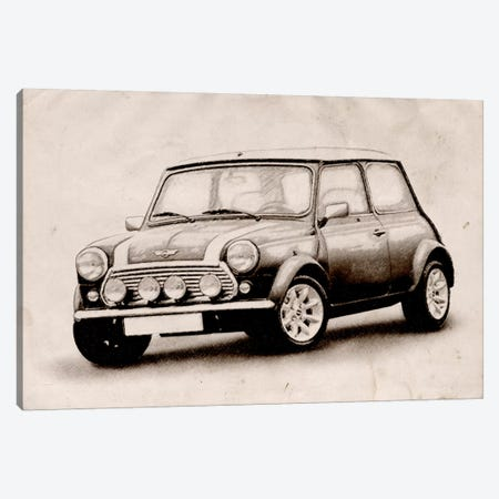 Mini Cooper Sketch Canvas Print #8869} by Michael Tompsett Canvas Art