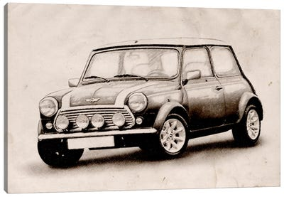 Mini Cooper Sketch Canvas Art Print