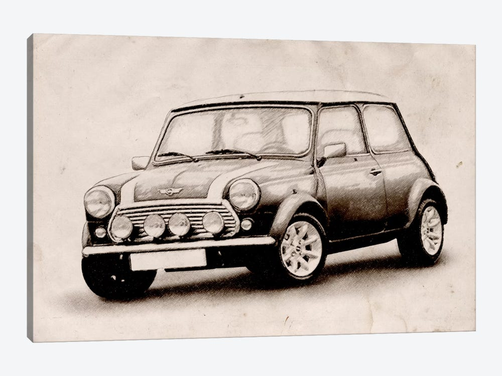 Mini Cooper Sketch by Michael Tompsett 1-piece Canvas Print