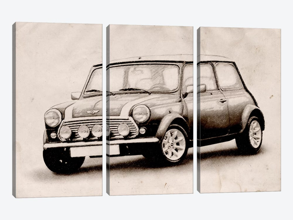 Mini Cooper Sketch by Michael Tompsett 3-piece Art Print