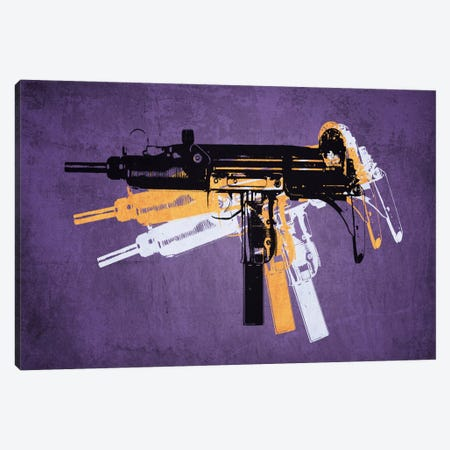 Uzi Sub Machine Gun on Purple Canvas Print #8870} by Michael Tompsett Canvas Art Print
