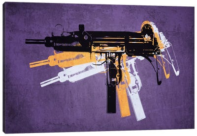 Uzi Sub Machine Gun on Purple Canvas Print #8870