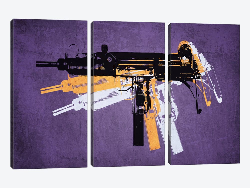 Uzi Sub Machine Gun on Purple by Michael Tompsett 3-piece Art Print