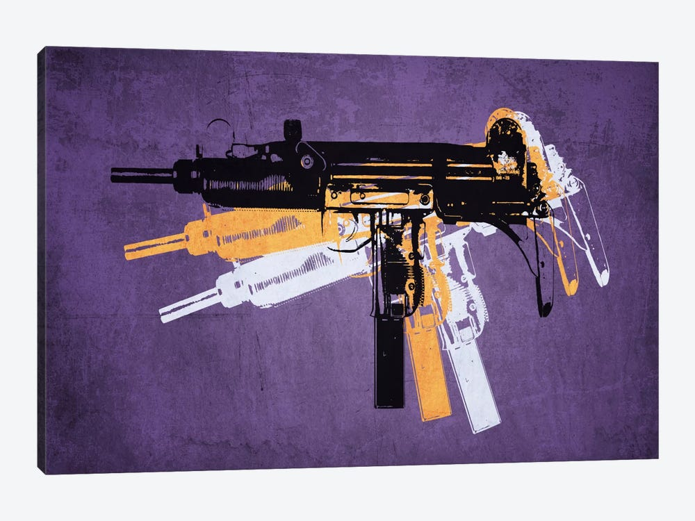 Uzi Sub Machine Gun on Purple by Michael Tompsett 1-piece Art Print