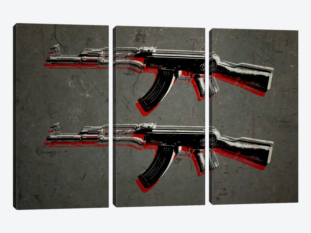 AK47 Assault Rifle by Michael Tompsett 3-piece Canvas Wall Art