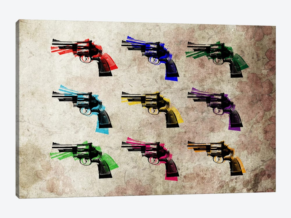 Nine Revolvers 1-piece Canvas Wall Art