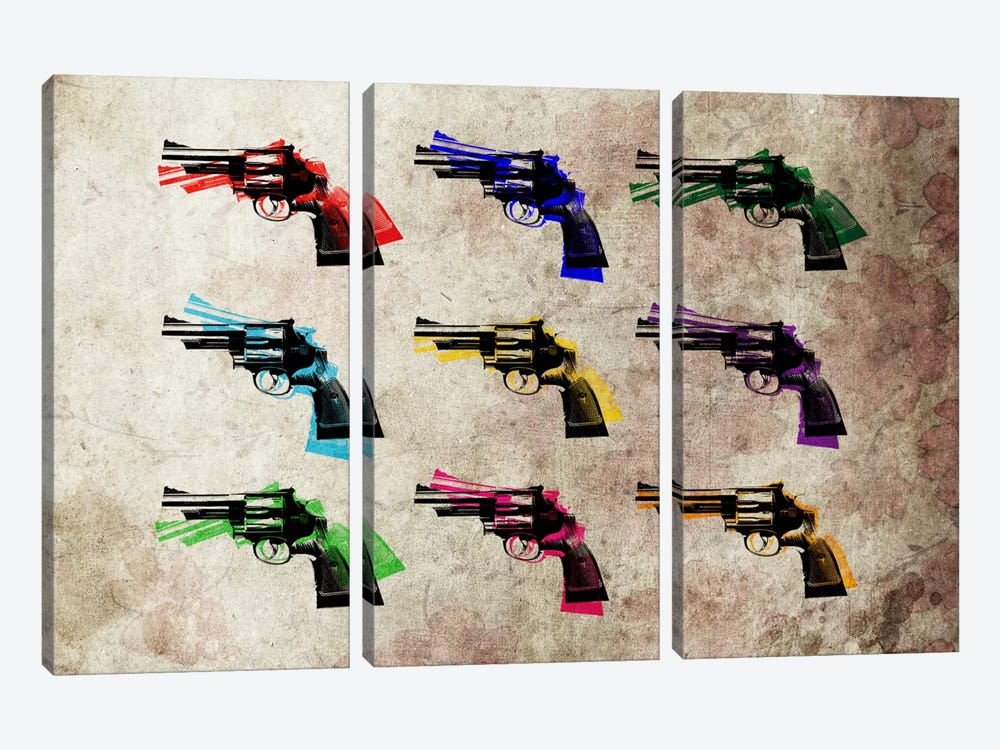 Nine Revolvers 3-piece Canvas Art