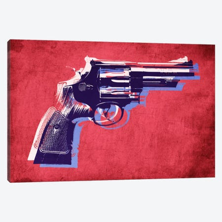 Revolver (Magnum) on Red Canvas Print #8874} by Michael Tompsett Canvas Artwork