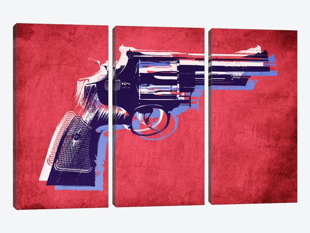 Revolver (Magnum) on Red by Michael Tompsett 3-piece Art Print