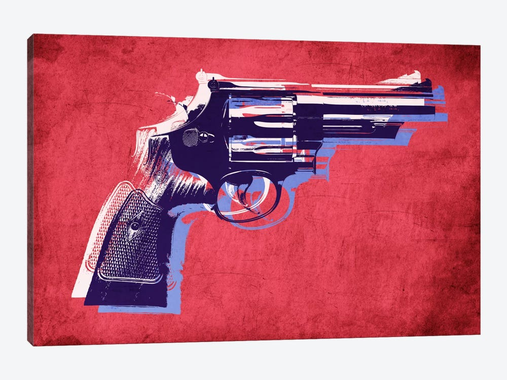 Revolver (Magnum) on Red by Michael Tompsett 1-piece Canvas Print