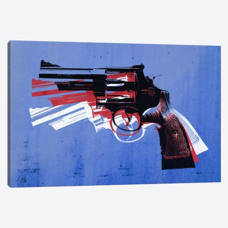 Revolver (Magnum) on Blue Canvas Print #8875} by Michael Tompsett Canvas Wall Art