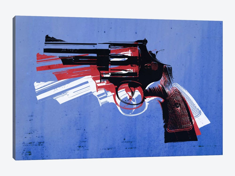 Revolver (Magnum) on Blue 1-piece Canvas Wall Art