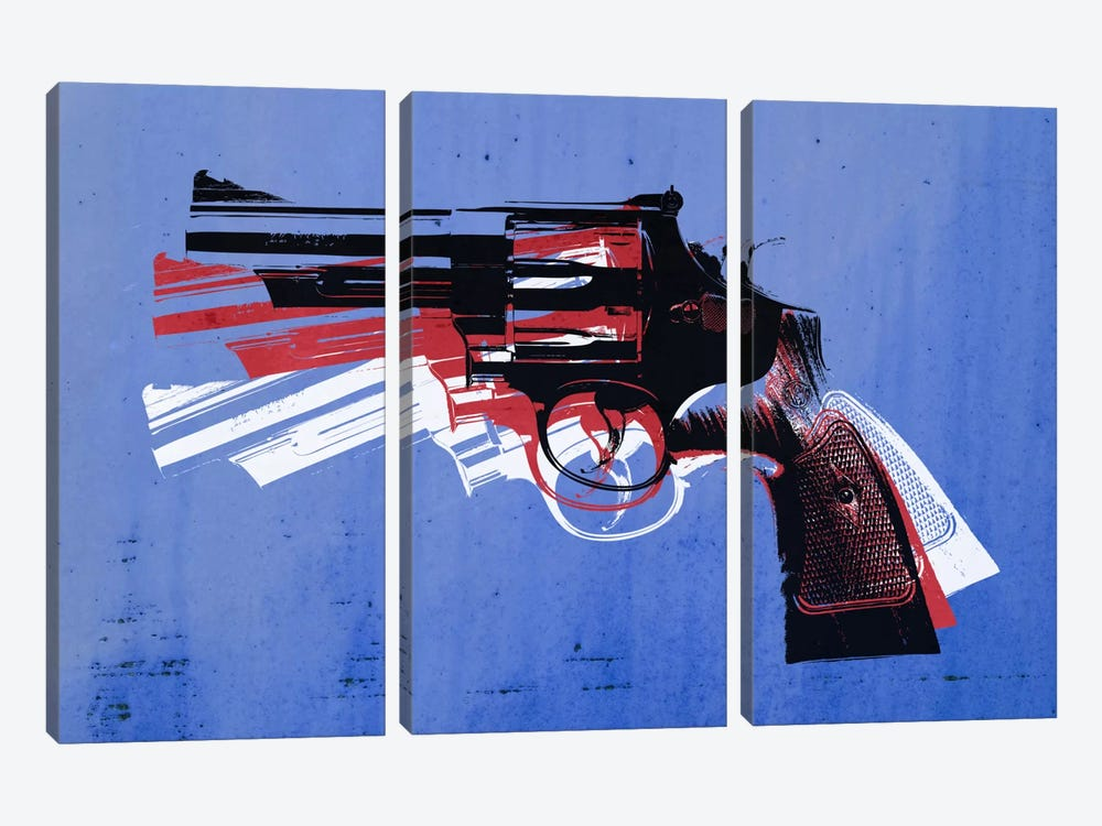 Revolver (Magnum) on Blue by Michael Tompsett 3-piece Canvas Art