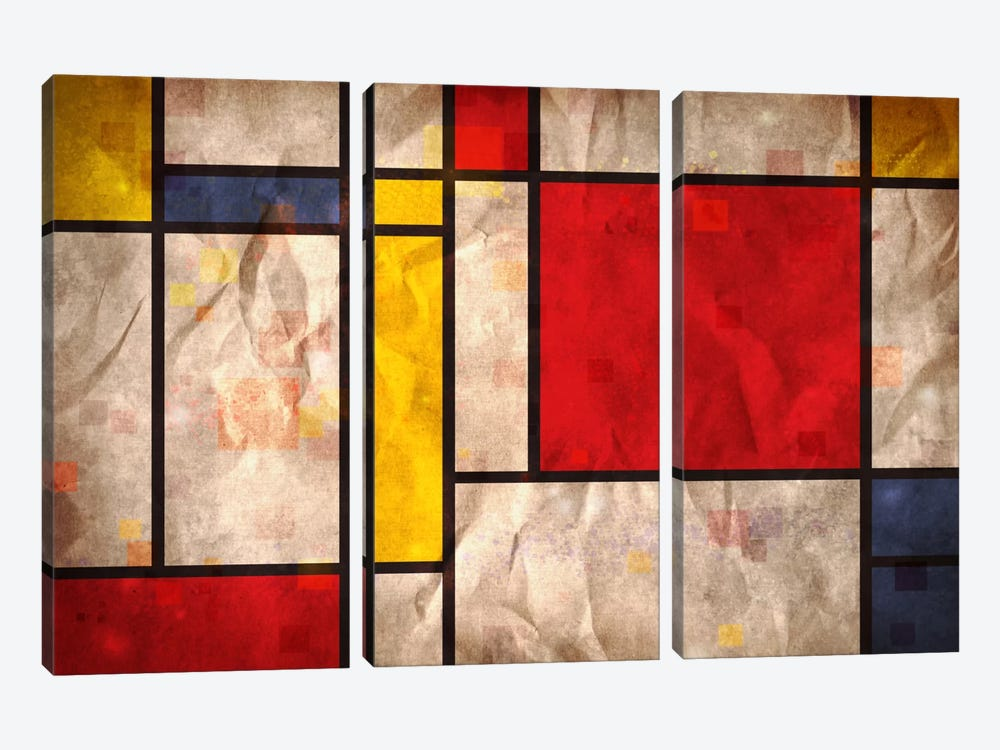 Mondrian Inspired by Michael Tompsett 3-piece Canvas Art Print