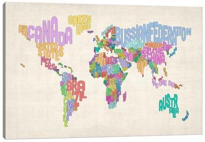 Typographic Text World Map Canvas Print #8878