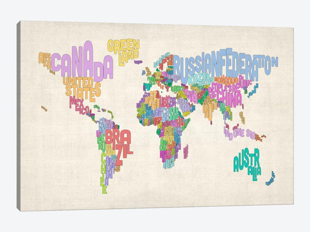 Typographic Text World Map 1-piece Canvas Print