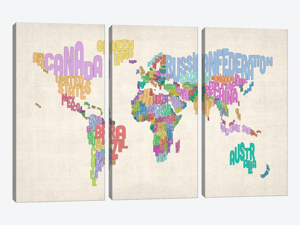 Typographic Text World Map 3-piece Art Print