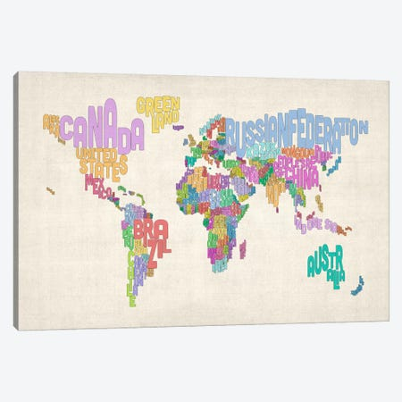 Typographic Text World Map Canvas Print #8878} by Michael Tompsett Canvas Art Print