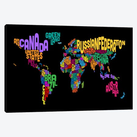 Typographic Text World Map II (Black) Canvas Print #8879} by Michael Tompsett Art Print