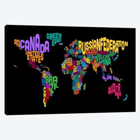 Typographic Text World Map II (Black) Canvas Print #8879} by Michael Tompsett Art Print
