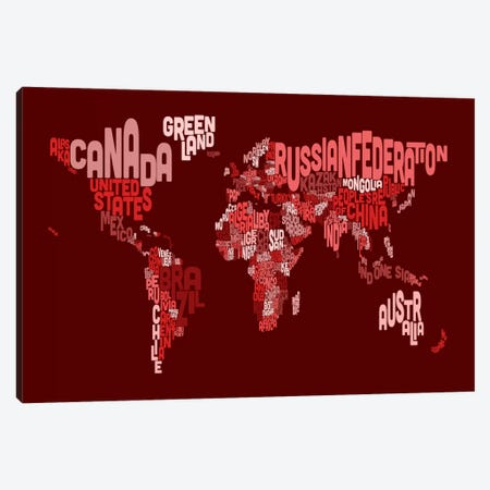Typographic Text World Map III (Red) Canvas Print #8880} by Michael Tompsett Canvas Art