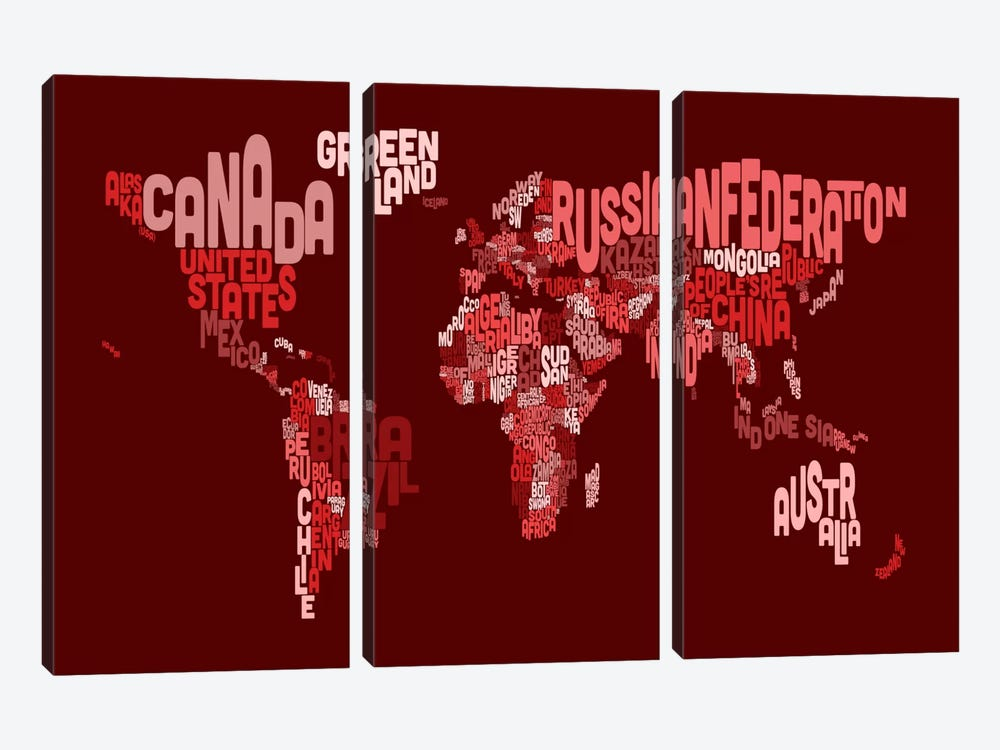 Typographic Text World Map III (Red) by Michael Tompsett 3-piece Canvas Art
