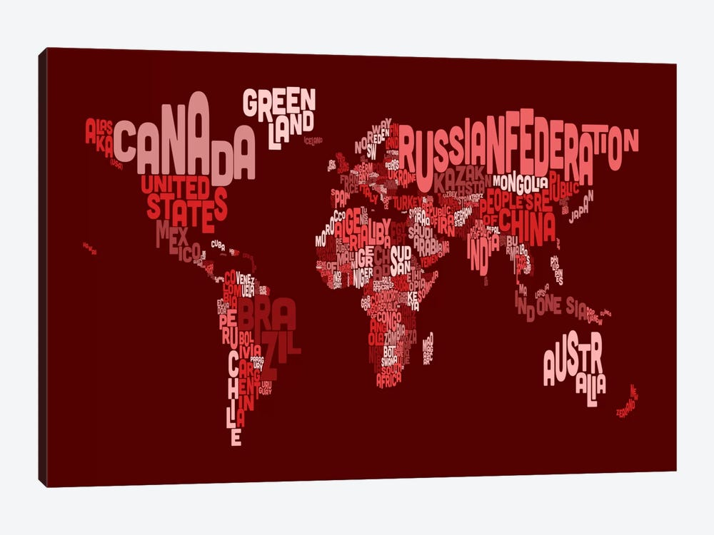 Typographic Text World Map III (Red) by Michael Tompsett 1-piece Canvas Artwork
