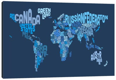 Typographic Text World Map IV (Blue) Canvas Print #8881