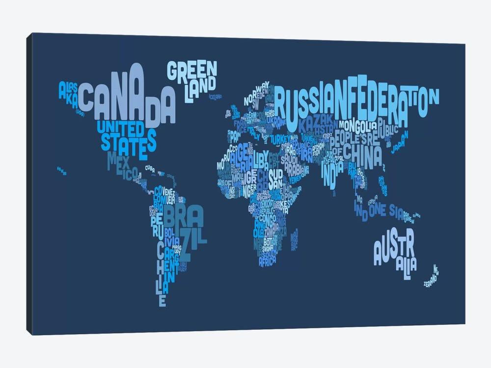 Typographic Text World Map IV (Blue) by Michael Tompsett 1-piece Art Print