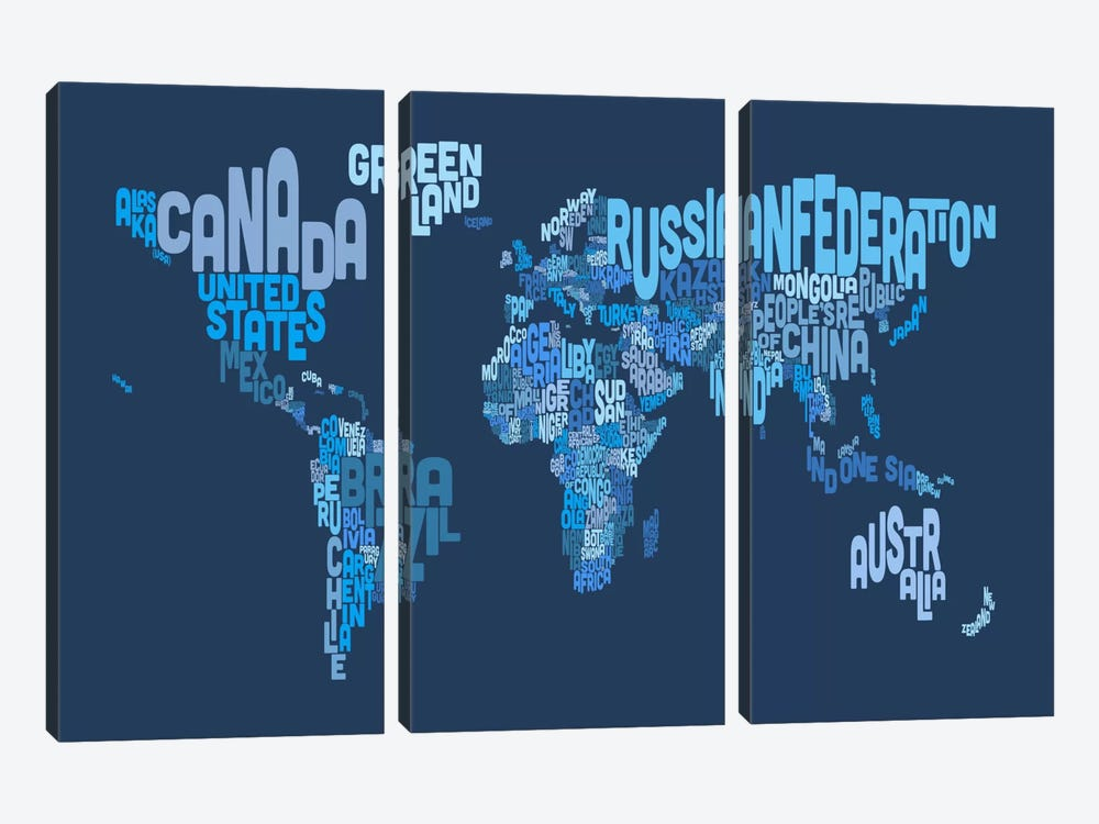 Typographic Text World Map IV (Blue) by Michael Tompsett 3-piece Art Print