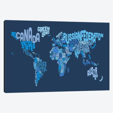 Typographic Text World Map IV (Blue) Canvas Print #8881} by Michael Tompsett Canvas Wall Art