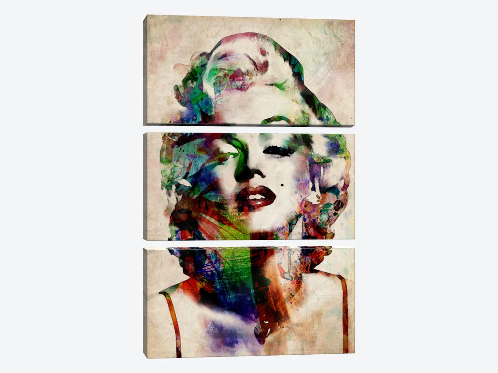 Watercolor Marilyn Monroe by Michael Tompsett 3-piece Canvas Art Print