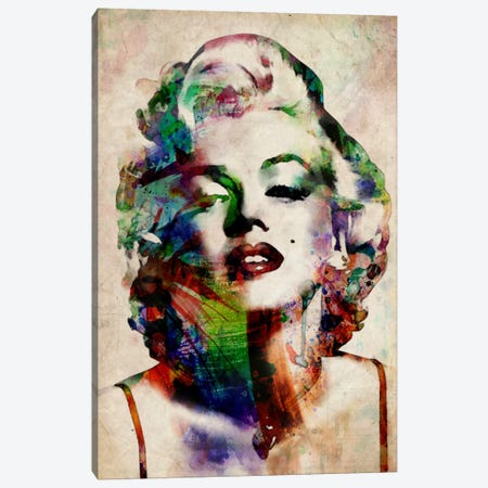 Watercolor Marilyn Monroe Canvas Print #8883} by Michael Tompsett Canvas Wall Art
